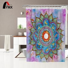 Indian Style Mandala Design Extra Wide Printed 100% Polyester Bathroom Waterproof Shower Curtain With 12 Hooks