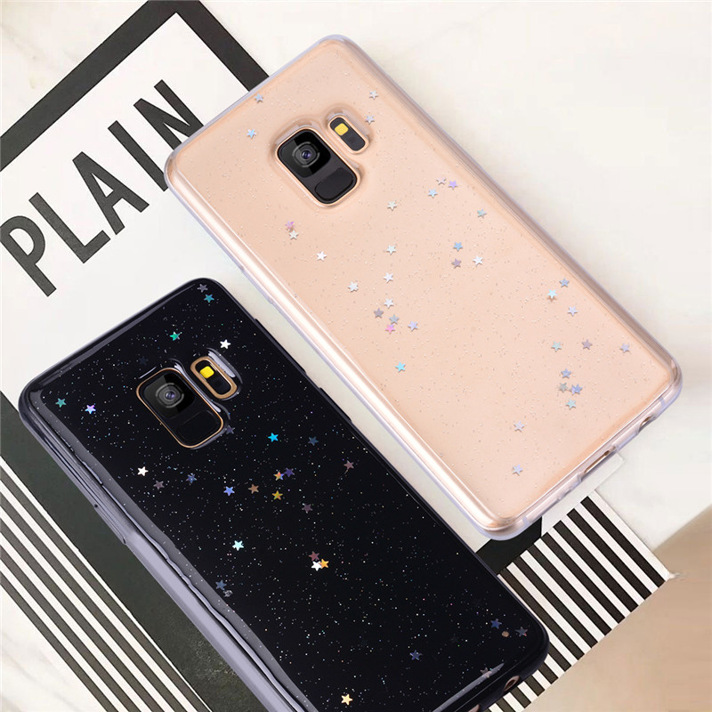 Luxury Bling Soft Silicone Case for Samsung Galaxy S8 S9 Plus Note 8 Case A6 A8 Plus 2018 Cover TPU Shockproof Glitter Stars