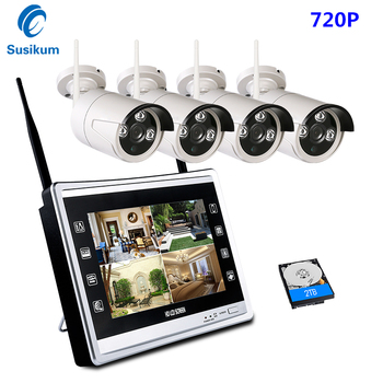 4CH 720P Wireless NVR Kits 12' LCD Display HD Outdoor Security Camera Video Surveillance Wifi CCTV Camera System Plug And Play
