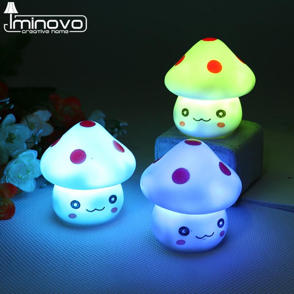 IMINOVO Colorful Changing Bedside LED Night Light Lamp Mushroom Novelty Romantic Baby Child Home Bedroom Decoration Lumination
