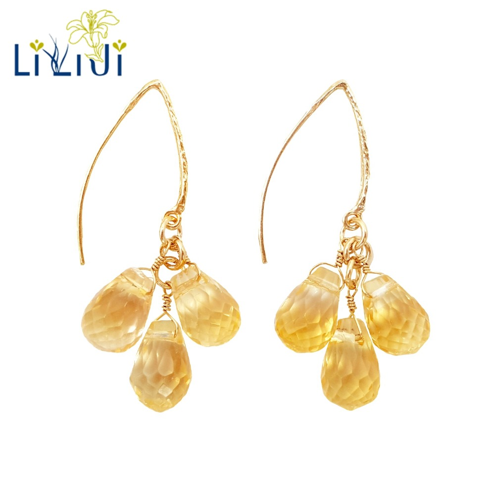 LiiJi Unique Natural Citrines Drop Shape Faceted Beads 925 Sterling Silver 1Gold Color Dangle Earrings Women