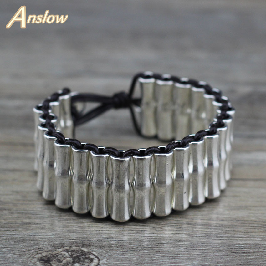 Anslow Punk Rock Retro Vintage Exaggeratted Women Men Healthy Alloy Leather Bracelet Men Women Unisex LOW0693LB
