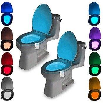 цена на Smart LED Motion Sensor Toilet Seat Night Light 8 Colors Waterproof Backlight For Toilet Bowl LED Luminaria Lamp WC Toilet Light