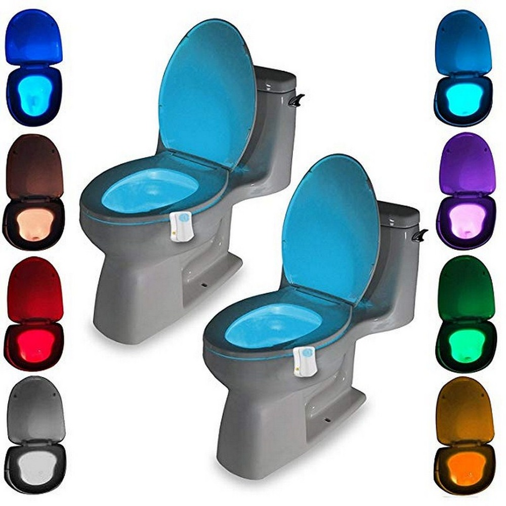 Toilet Seat Night Light PIR Smart Motion Sensor 8 Colors Waterproof Backlight For Toilet Bowl LED Luminaria Lamp WC Toilet Light