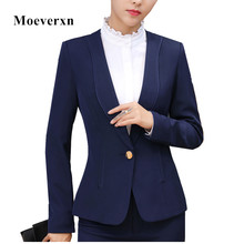 2017 Autumn winter fashion long sleeve blazer women slim formal business one button jacket office ladies plus size work wear top