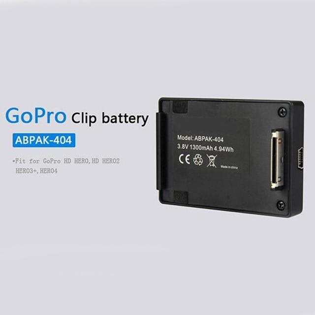 GoPro Клип Батареи ABPAK-404 Расширенный Аккумулятор 1300 мАч Для GoPro Hero 4 3 + 3 2