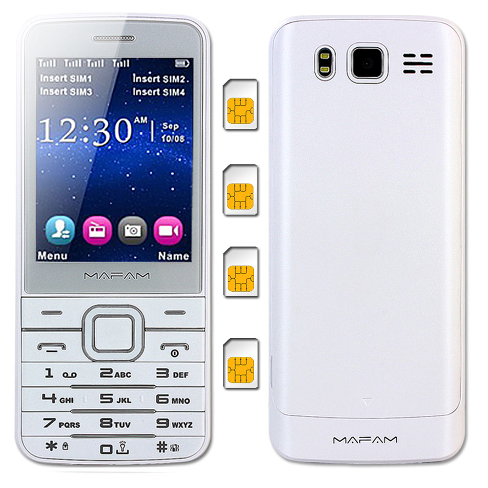 MAFAM V9500 Quad 4 SIM Fire Standby Plast Slim Mobiltelefon Lommelygte Magic Voice Changer SOS Hurtigopkald Telefonbog 1000pc M11