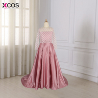 Real Photo Blush Pink Flower Girl Dress Kids Ball Gown Evening Gowns Floor Length First Communion