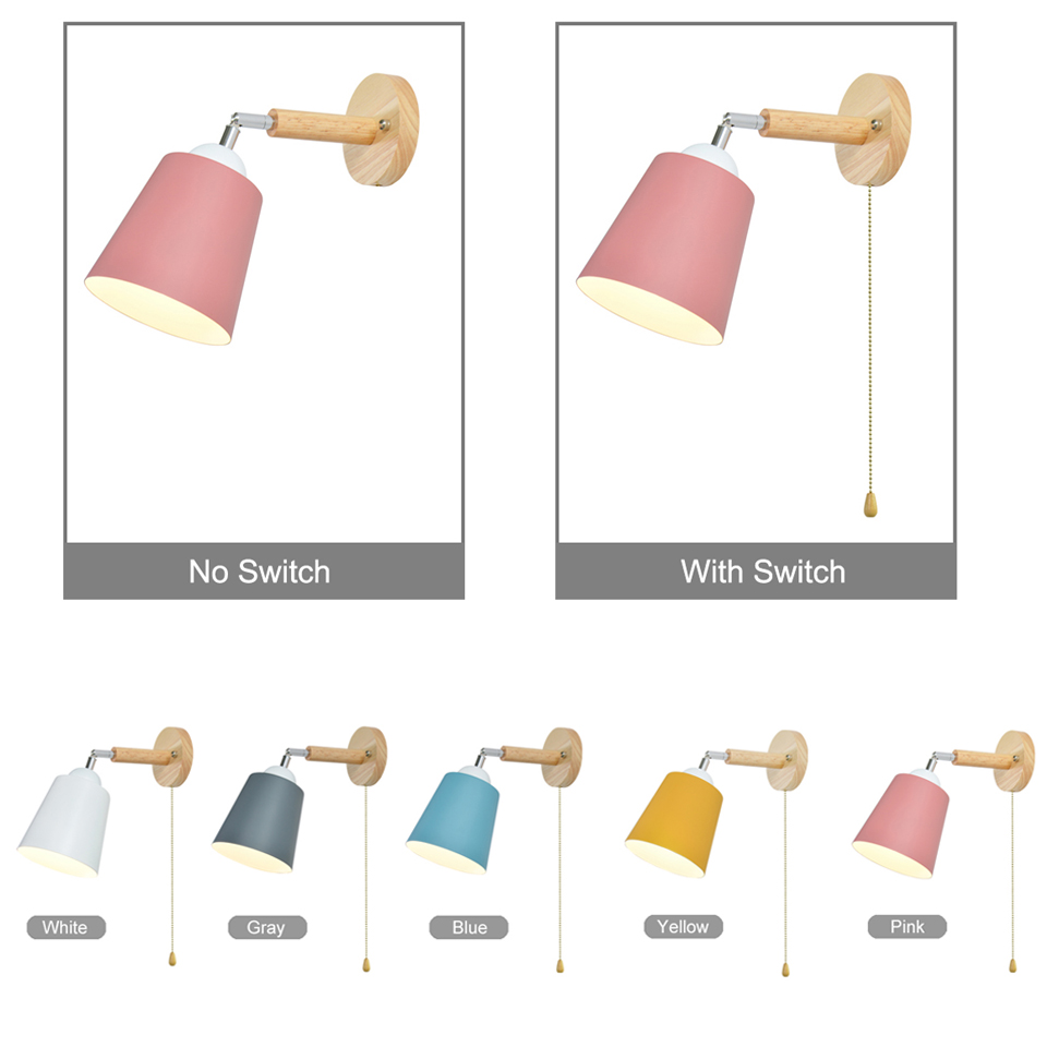 Image 4 - Wooden wall lights bedside wall lamp with switch wall sconce modern wall light for bedroom Nordic macaron steering headLED Indoor Wall Lamps   -