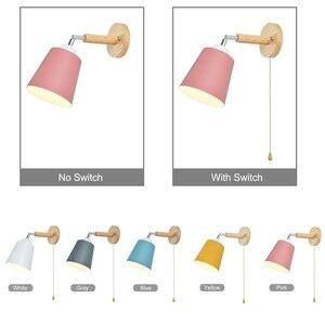 Image 4 - Деревянный настенный светильник s прикроватный настенный светильник с переключателем Настенный бра современный настенный светильник для спальни скандинавский Макарон рулевая головка