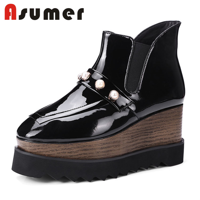 ASUMER 2018 FASHION solid simple ankle boots for women elastic band shallow boots wedges slip on daily genuine leather bootsASUMER 2018 FASHION solid simple ankle boots for women elastic band shallow boots wedges slip on daily genuine leather boots