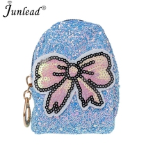 Junlead Sparkly Sequins Female Bowknot Cheap Coin Purse Pocket Change Wallet  For Girl Key Chains Cute 7143dae93165
