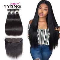3 Bundles Brazilian Straight Hair Bundles With Closure Pre Plucked 13*4 Ear To Ear Lace Frontal Closure With Bundles YYong Hair