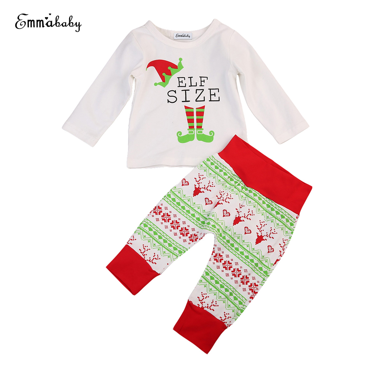 Младенцев 2 шт. Рождественский комплект одежды PJS Наборы для ухода за кожей милые детск ...