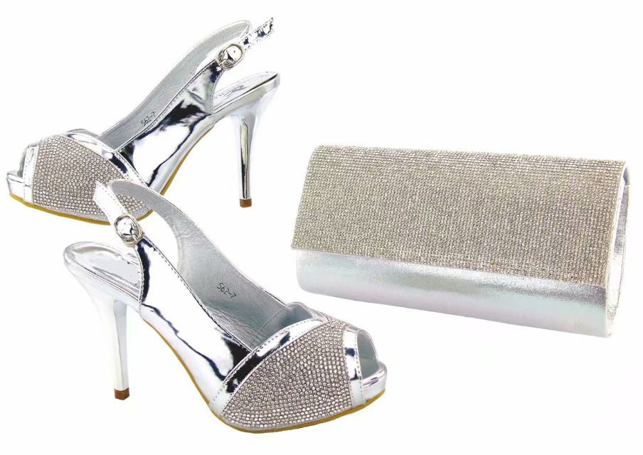 Most popular silver women pumps and bag set for african shoes match handbag set with rhinestone for dress V5