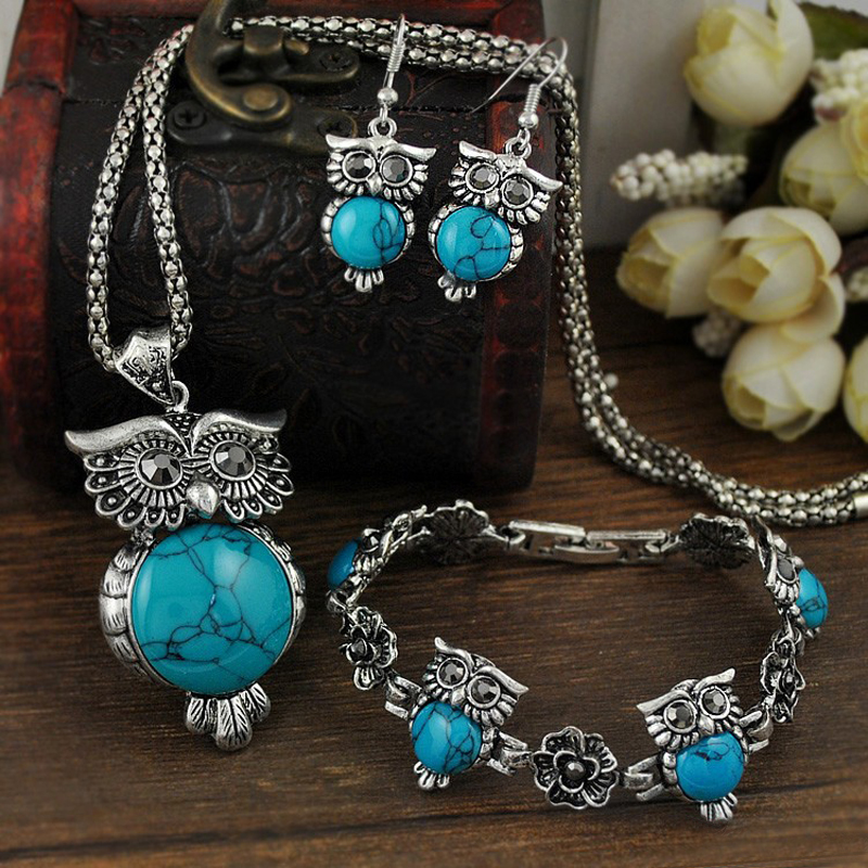 LNRRABC Women Vintage Retro Owl jewelry sets Pendant Necklace drop earrings Charm bracelet Set parure bijoux femme