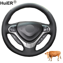 Hand Sewing Car Steering Wheel Cover Top Cow Leather Funda Volante Braid on the Steering wheel For Honda Spirior OId Accord