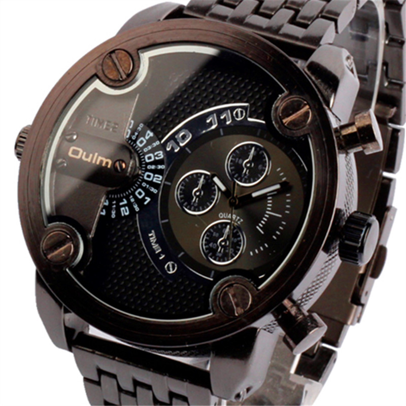 OULM Hot 2017 Luxury Men's Sports Military Wrist watch full Steel Stainless Band Analog Quartz Watch Relogio Masculino HT3130 oulm 3548 men dual movt japan quartz watch with big dial stainless steel band analog sport watch vintage watch relogio masculino