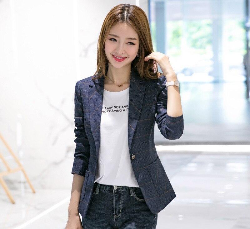 Poitrine Veste Gris Foncé Mode Femmes Outwear Blue Coréenne dark Auttum Unique Manteau Gray Blazers Nouvelle Bleu Blazer Plaid Poches Grey light Slim Dark ZPI4x6q