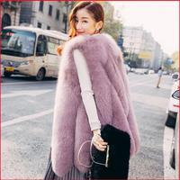 Новое поступление 2018 г. Зимние теплые модные брендовые Для женщин из искусственного меха жилет из искусственного меха пальто лисий мех жиле...