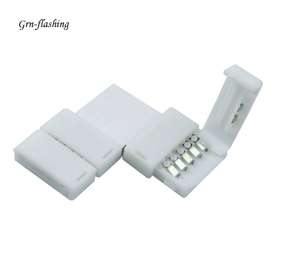 GRN-FLASHING 1Pcs 12mm 5pin L shape 90 Degree Corner LED Strip light Connectors Free Welding Connector for 5050 RGBW RGBWW 10pcs 5 pin led strip wire connector for 12mm 5050 rgbw rgby ip20 non waterproof led strip to wire connection terminals
