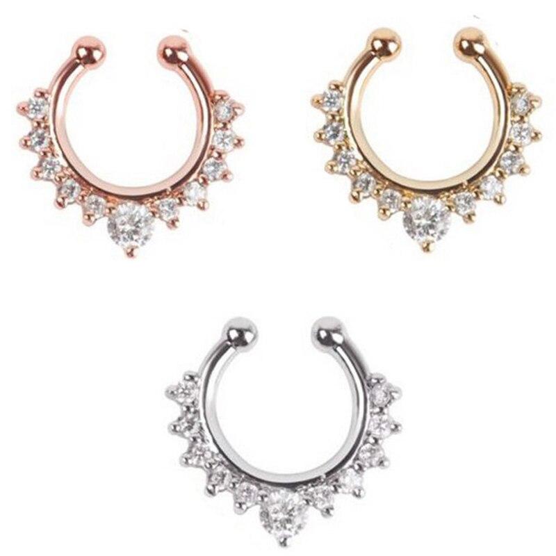 67d5b3b925250 10 unids joyería fina oro rosa y plata ninguno piercing Fake septum cristal  anillo nariz falsa piercing envío libre