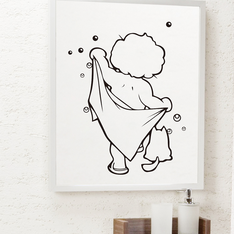 Lovely Baby Love Shower Wall Stickers For Bathroom Glass Door Stickers Cute Children Shower Waterproof Mural Art Vinyl Decals