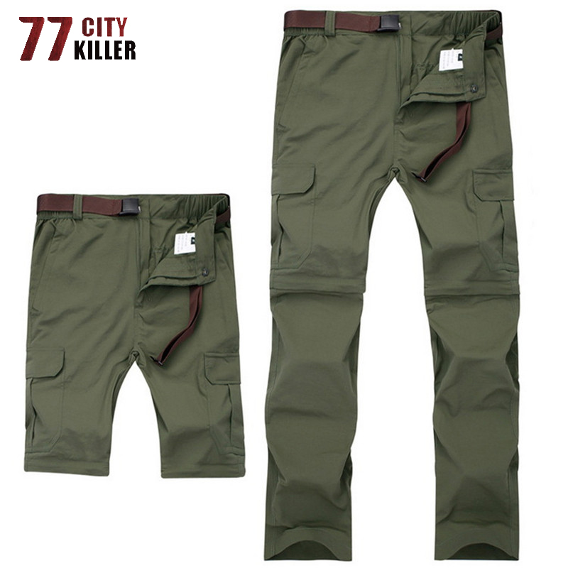 Plus Size 6XL 7XL Quick Drying Cargo Pants Men Summer Detachable Breathable Trousers Male Outwear Waterproof Tactical Mens Pants