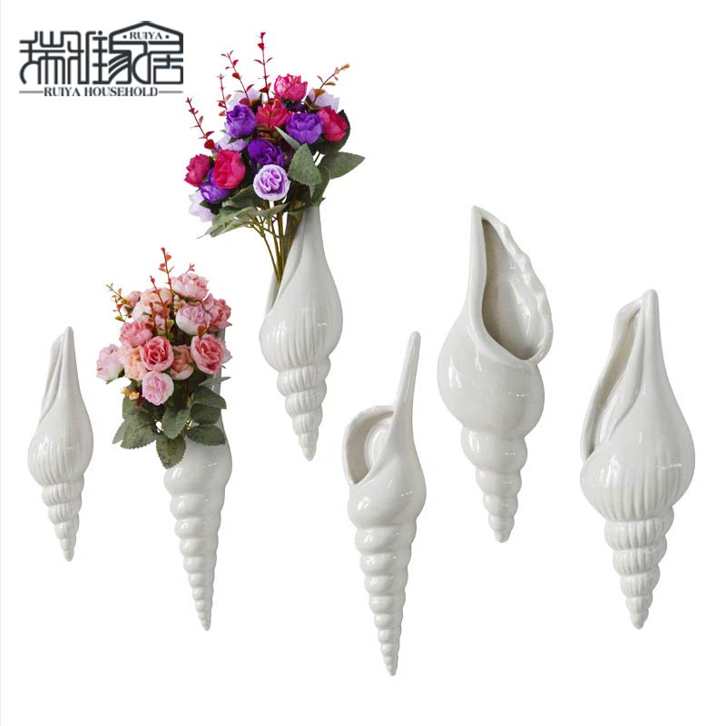 Simple Modern Three - Dimensional Fresco Flower Vase Conch Creative Background Wall Decoration Home Decoration Free Shipping