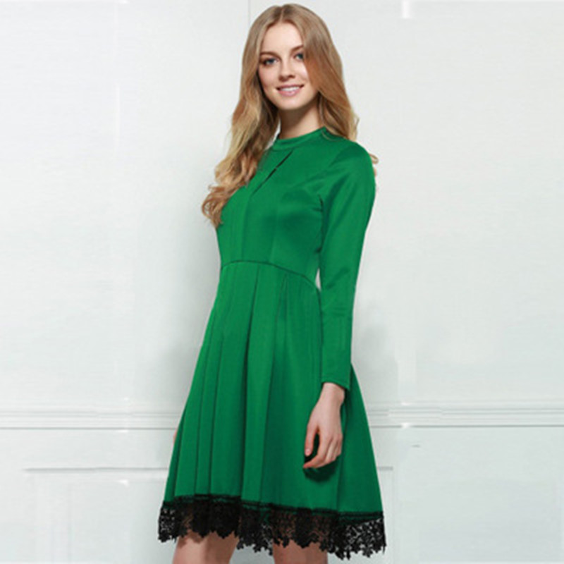 Spring Long Sleeve Womens Dress Green Elegant Lace Casual Autumn Ladies Clothes High Qua ...
