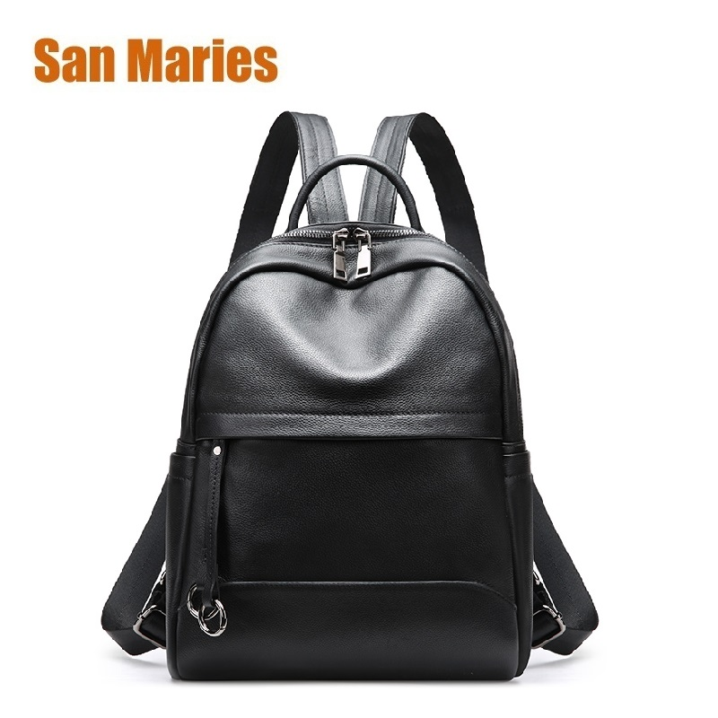 San Maries Black Fashion Backpack Women Backpacks Real Cow Leather School Bags For Girls Travel Shoulder Bag Female High Quality annmouler famous brand women leather backpack alligator backpacks high quality elegant shoulder bag black school bag for girls