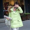 Акции 2016 женские зимние пуховики и пальто женщин конфеты цвета Femal Утолщение теплая куртка капюшон пальто бесплатная доставка