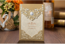 ФОТО high quality wedding invitation card gold 3d decoration 185*127mm including of printing paper, envelope and seals