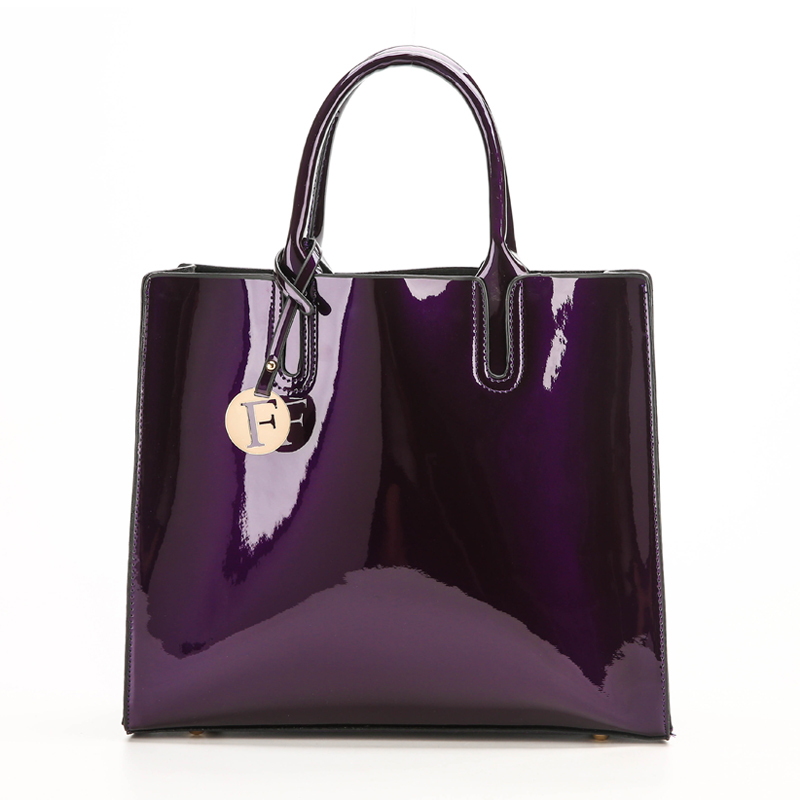 Bright Solid Patent Leather Women Fashion Bags Ladies Simple