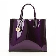 Sacos de moda feminina de couro de patente sólida brilhante senhoras bolsas de luxo simples ombro ocasional mensageiro sacos sac a principal