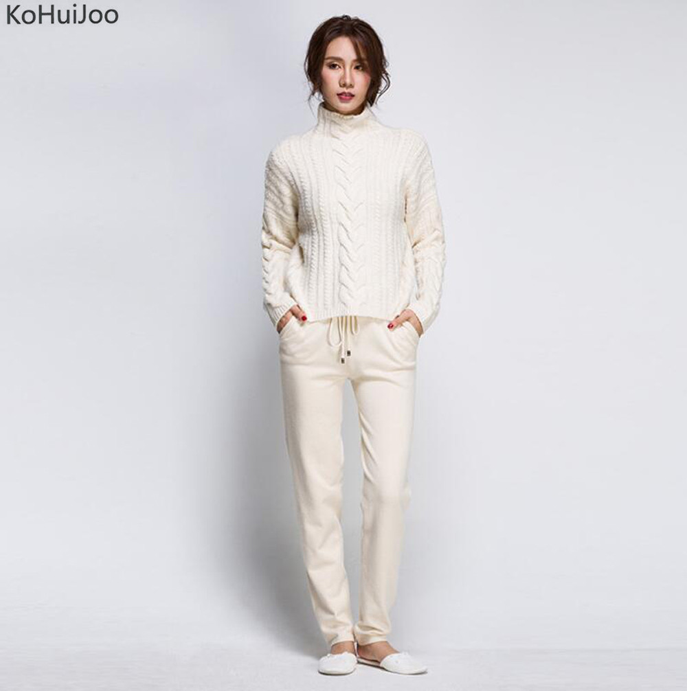 KoHuiJoo 2018 Autumn Winter Women Knitting Sweater Pants Suit Set Casual Thick Warm Knitted Tracksuit Femme Outfits 2 Pieces Set