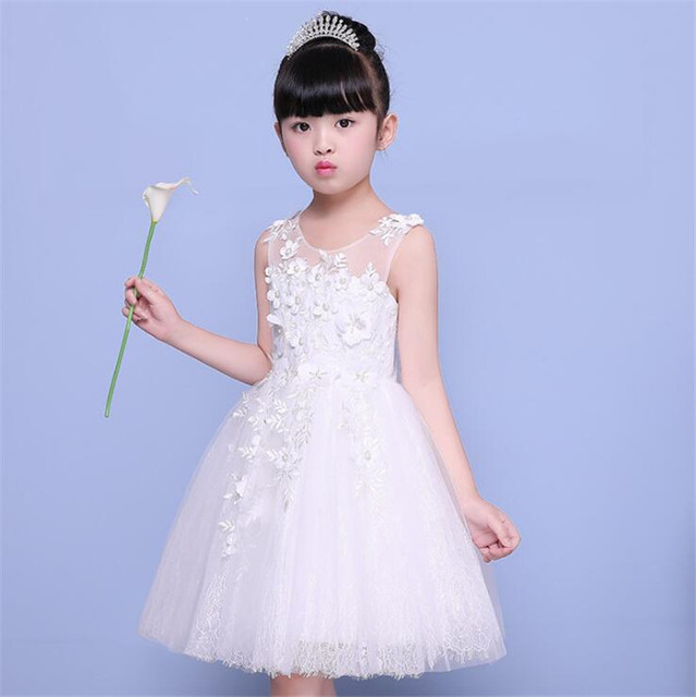 Новый Обувь для девочек Дети Свадебное платье с цветочным узором для девочек принцесса праздничное платье белый Первого Святого кружевное платье для причастия для Обувь для девочек