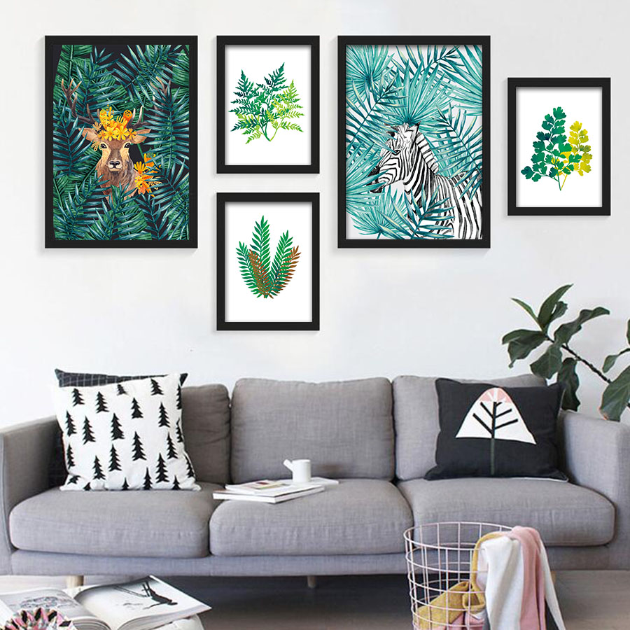Nordic Style Watercolor Plant Tropical Leaf Flower Cactus