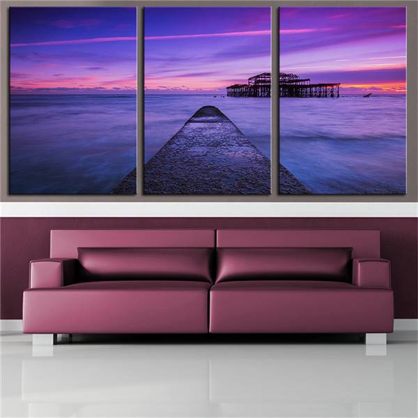 No Frame 3pcs England Pier Uk Brighton Sea Ocean Sunset Printed Oil ...