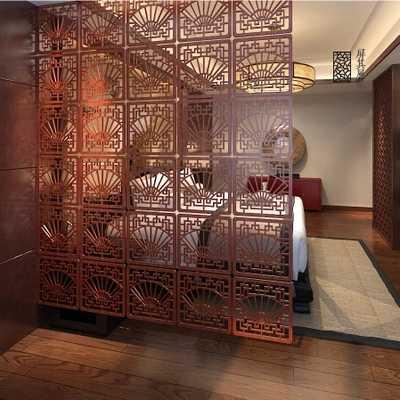 Китайский моды минималистский вход с экран занавес плитки стеновые панели висит полые дерева гостиной настенные механизм