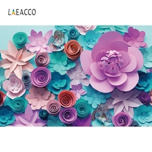 цены Laeacco Colorful Floral Paper Flower Wall Baby Wedding Photocall Photography Backgrounds Photographic Backdrops For Photo Studio