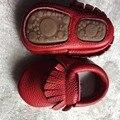 200 par/lote Nueva venta caliente Sólido de Cuero Genuino Niña Niños hechos a mano Niño duro suela primer caminante del bebé Zapatos de cuero