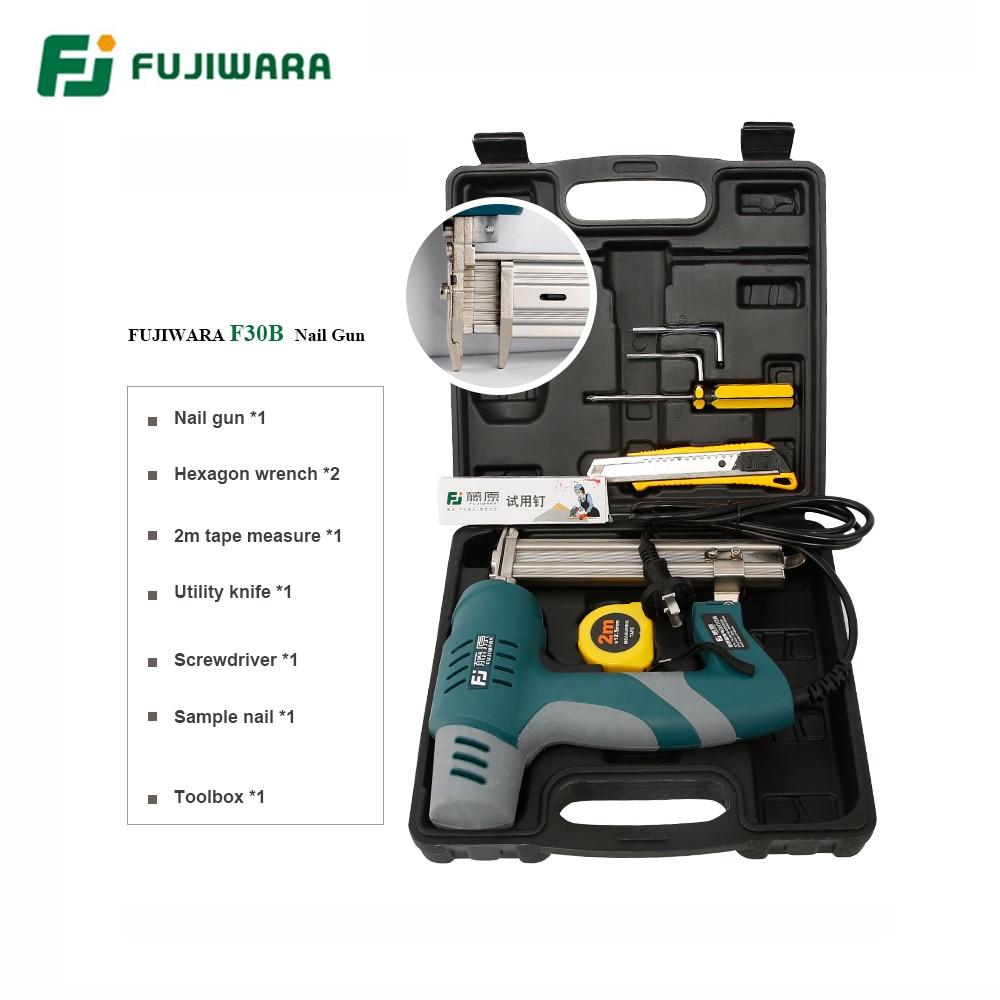 Tools : FUJIWARA Electric Nail Gun Single-use Double-use Nail Stapler 422J Nails F30 Straight Nail Gun Woodworking Tools S