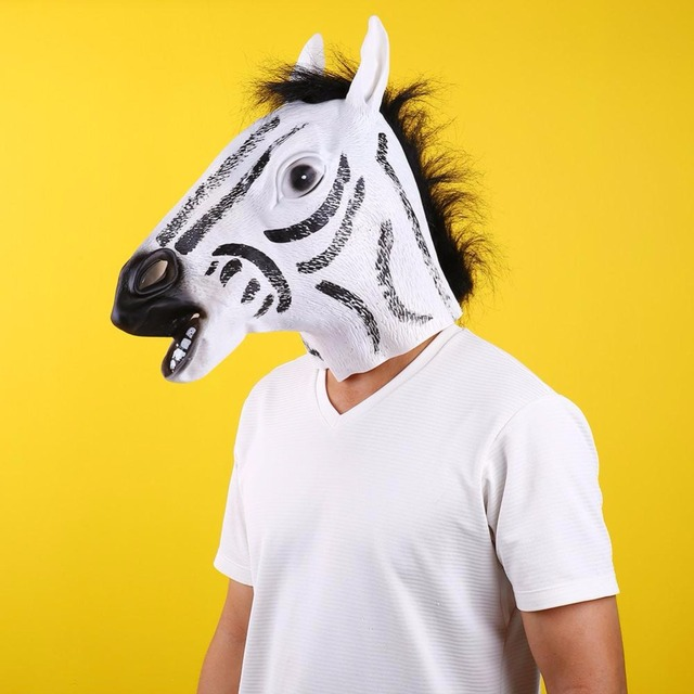 Unisex Women Adult Stylish Funny Creepy Zebra Head Cosplay Halloween Costume Theater Prop Head Masks