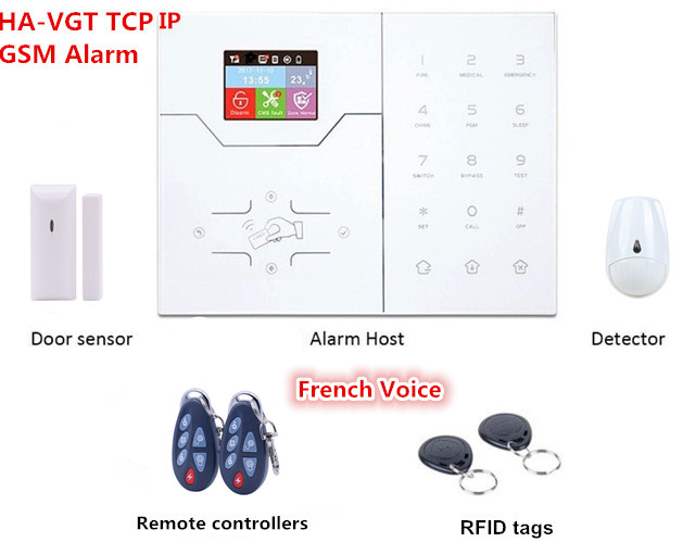 English French Text Menu Voice Alarm RJ45 TCP IP Alarm 4G GSM Smart Home Security Alarm System With Rename zone Function