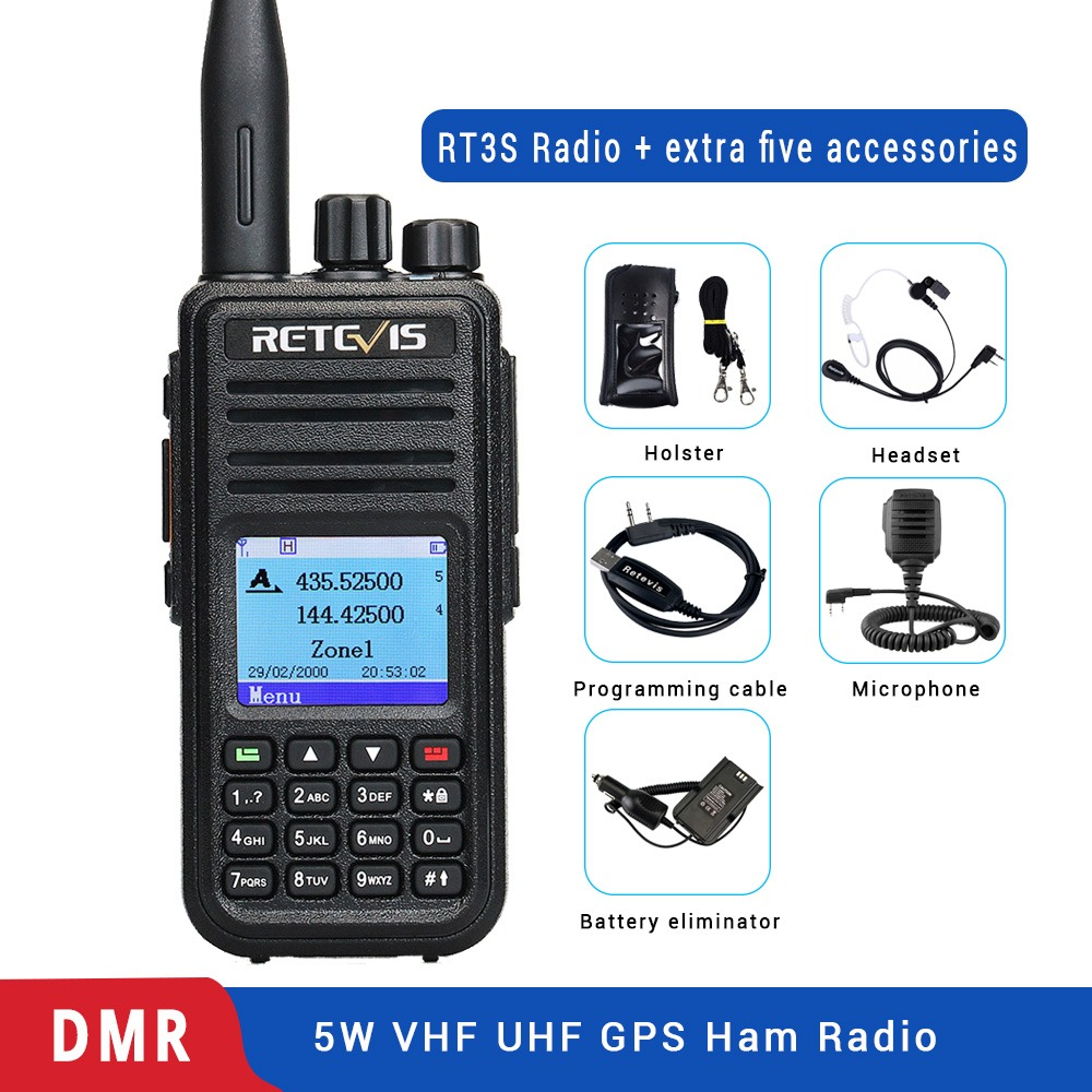 DMR Dual Band Retevis RT3S Digital Walkie Talkie (GPS) VHF UHF DMR Radio Amador Ham Radio Hf Transceiver 2 Way Radio+Accessories-in Walkie Talkie from Cellphones & Telecommunications
