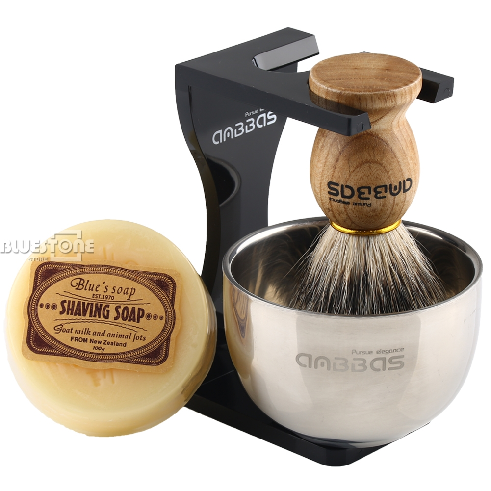 Anbbas Barber Shaving Brush Badger Hair+Black Acrylic Stand+bowl+Soap Set