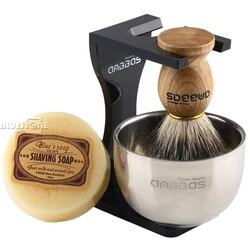 Cepillo de afeitar para Barbero Anbbas, pelo de tejón, soporte acrílico negro, cuenco, juego de jabón