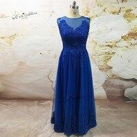 Elegantes Königsblau Lange Spitze Abendgesellschaft Kleid Schal Vestidos Largos de Noche Afrikanische Prom Kleider 2017 Türkische Abendkleider