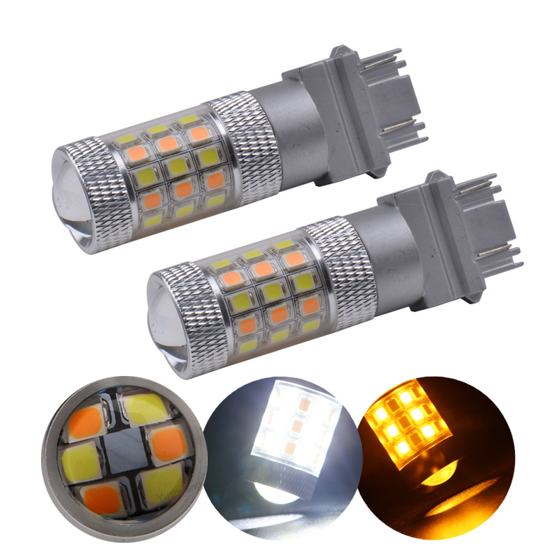 2PCS Leds Bulb T25 3157 7443 White Amber Auto Led DRL Light Dual Color LED Turn Signal Light switchback 42smd 2835 P27 3057 12V